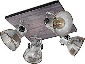 schwarz EGLO Deckenlampe Zapata 1 Deckenspot aus Stahl Glas: amber 4 flammige Vintage Deckenleuchte im Retro Look Fassung: G9