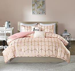 INTELLIGENT DESIGN Raina Comforter Set King/Cal King Size - Blush Gold, Geometric - 5 Piece Bed Sets - Ultra Soft Microfiber Teen Bedding for Girls Bedroom