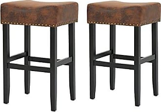 GDF Studio Christopher Knight Home 300876 Chantal Bonded Leather Studded Accent Bar stools (Set of 2) (Patina Brown)