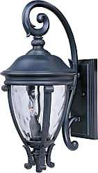 Maxim Lighting Maxim 41425WGBK Camden VX 3-Light Outdoor Wall Lantern in Black with Water Glass glass