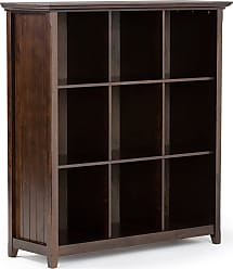 Simpli Home Acadian Solid Wood 9 Cube Bookcase & Storage Unit in Tobacco Brown