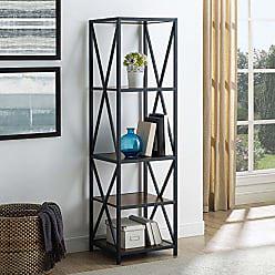 Walker Edison WE Furniture AZST18XMWDW Bookshelf, Dark Walnut/Black Metal