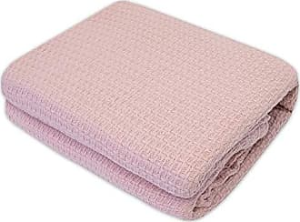 Sweet Home Collection 100% Cotton Blanket All Season Comfort Knit Woven Bedspread Bedding, Full/Queen, Rose