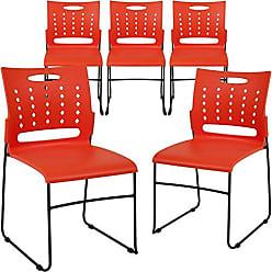 Flash Furniture 5-RUT-2-OR-GG Orange Plastic Stack Chairs, 5 Pack