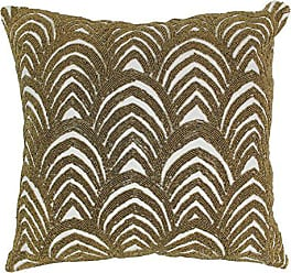 Blazing Needles IN-20273-20-S1-IV-GO Arching Fans Beaded Throw Pillow, 20-Inch
