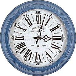 Yosemite Home Decor Yosemite Home Decor Circular Iron Wall Clock, Blue Frame, White Face, Text, Black Hands