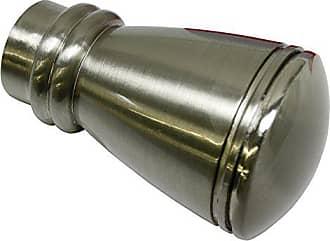 2 x Endkappe Endstück für Gardinenstange mit 20 mm Durchmesser Edelstahl Optik