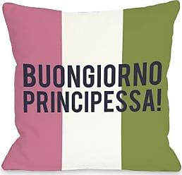 One Bella Casa Buongiorno Principessa Throw Pillow by OBC, 20x 20, Pink/White/Green