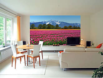 Ideal Decor Mountain Tulips Wall Mural - DM137