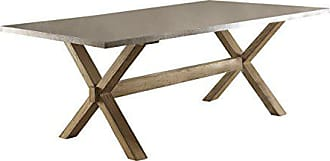 Homelegance Luella 84-Inch Dining Table with Natural Gray Zinc Top, Neutral Brown