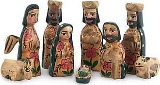 Novica Wood mini nativity scene, Rejoice (set of 9) - Handcrafted 9 Piece Nativity Scene Set