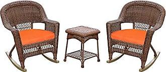 Jeco W00205R-C_2-RCES016 3 Piece Rocker Wicker Chair Set with with Orange Cushion, Honey