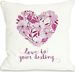 One Bella Casa Love is Destiny Throw Pillow by Ana Victoria Calderon, 16x 16, White/Pink/Multi