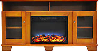 Cambridge Silversmiths CAM6022-1TEKLED Savona 59 In. Electric Fireplace in Teak with Entertainment Stand and Multi-Color LED Flame Display