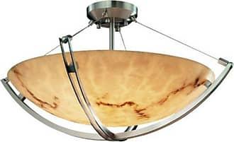 Justice Design LumenAria Crossbar FAL-9712-35 Semi-Flush Bowl with Round Shade - FAL-9712-35-DBRZ-LED5-5000