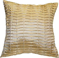 Violet Linen Silky Pleated Throw Pillow 17 x 17 Beige