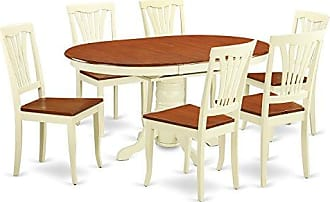 East West Furniture AVON7-WHI-W 7Piece Dinette Table with Leaf & 6 Wood Seat Chairs in a Beautiful Buttermilk & Cherry Finish