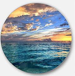 DESIGN ART Designart Exotic Tropical Beach at Sunset Modern Seashore Metal Artwork Disc of 23 inch, 23 H x 23 W x 1 D 1P, Blue/Orange