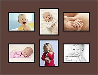 Art to Frames Double-Multimat-473-736/89-FRBW26079 Collage Photo Frame Double Mat with 6-5x7 Openings and Satin Black Frame