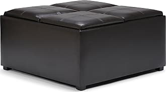 Simpli Home Avalon Faux Leather Square Coffee Table Storage Ottoman in Tanners Brown