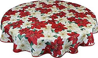 Violet Linen European Christmas Poinsettia Floral Design Printed Tablecloth, 60 Round, Beige
