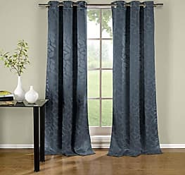 Duck River Textile s - Zayden Floral Leaf Print Silk Textured Grommet Top Window Curtains for Living Room & Bedroom - Assorted Colors - Set of 2 Panels (38 X 96 Inch - Blue)