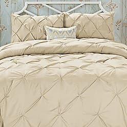 Elegant Comfort Wrinkle Resistant - All Season Luxury Silky Soft Pintuck 3-Piece Comforter Set - King Taupe