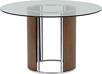 Armen Living LCDLBAWABS Delano Dining Table with Clear Glass Top, Walnut Wood and Brushed Stainless Steel Finish