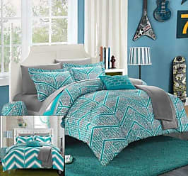 Chic Home 10 Piece Laredo Chevron and Geometric Printed Reversible Comforter Sheet Set, Full, Aqua