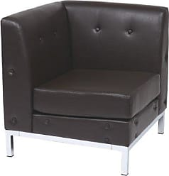 Office Star Ave Six Wall Street Faux Leather Corner Chair with Chrome Finish Base, Espresso
