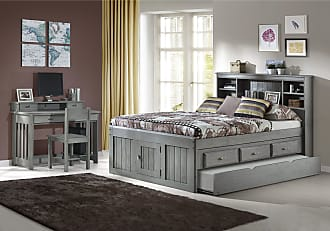 Overstock Solid Pine Full Captains Bookcase Bed with Twin Trundle in Charcoal (With Trundle - Assembly Required)