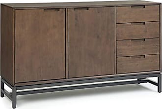 Simpli Home Simpli Home AXCBAN-11 Banting Solid Hardwood and Metal 60 inch Wide Modern Industrial Sideboard with Side Drawers in Walnut Brown