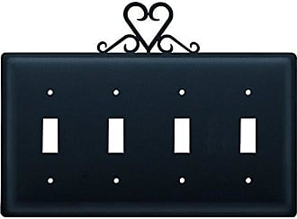 Village Wrought Iron 8.25 Inch Heart Quadruple Switch Cover