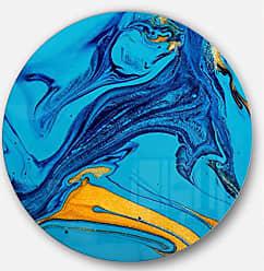 DESIGN ART Designart Soft Blue Acrylic Paint Mix-Abstract Circle Wall Art - Disc of 38 38x38-Disc of 38 inch