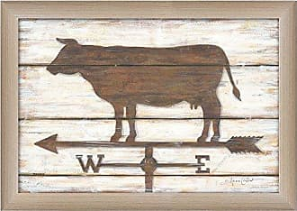 Trendy Decor 4 U Farmhouse Cow By Annie LaPoint, Printed Wall Art, Ready To Hang Framed Poster, Beige Frame