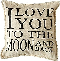 Creative Co-op Creative Co-op Cotton I Love You to The Moon and Back Pillow, 20 L x 20 H, Multicolor, 4 Piece