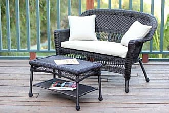 Jeco W00201-LCS006 Wicker Patio Love Seat and Coffee Table Set with Tan Cushion, Espresso