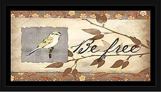 EAZL Be Free Paper Texture Bird on Branch Leaf Silhouette Painting Tan & Purple, Framed Canvas Art by Pied Piper Creative