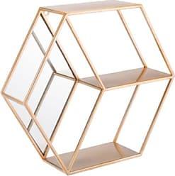 Ashley Furniture Bee Hexagonal Storage Wall Shelf, Gold Finish