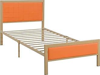Benzara BM171739 Wooden/Metal Frame Bed Orange