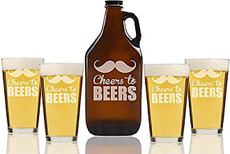 Chloe and Madison Cheers to Beers Beer Amber Growler & pint Glasses, Set of 5