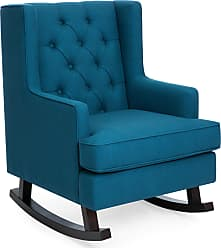 Best Choice Products Tufted Upholstered Wingback Rocking Accent Chair, Living Room, Bedroom w/ Wood Frame - Blue Teal