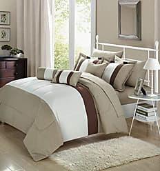 Chic Home 10 Piece Serenity Comforter Set, Queen, Beige