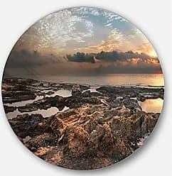 DESIGN ART Designart African Rocky Coast Panorama Beach Round Wall Art - Disc of 11 11 H x 11 W x 1 D 1P Blue/Orange