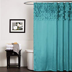 Lush Décor Lillian Shower Curtain | Textured Shimmer Circle Design Bathroom, 72 x 72, Turquoise