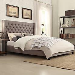 Weston Home Melford Wingback Upholstered Platform Bed Dark Gray, Size: Full - E784BF-1DGL[BED]PL