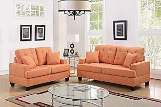 Benzara BM168667 Polyfiber Sofa with Loveseat/Cushions Orange