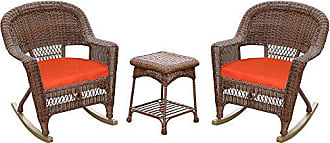 Jeco W00205R-C_2-RCES018 3 Piece Rocker Wicker Chair Set with with Red Cushion, Honey