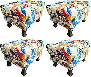 Nay Multicoisas Kit 04 Puffs Banqueta Retrô Luis XV Suede Color - Nay Estofados