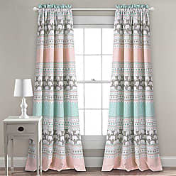 Triangle Home Fashions Lush Decor Elephant Stripe Curtains Pattern Room Darkening Window Panel Set for Living, Dining, Bedroom (Pair), 84 x 52, Turquoise & Pink